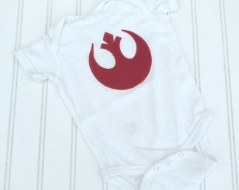 READY TO SHIP Great Costume / Baby Shower Gift bodysuit Star Wars inspired Jedi Rebel Alliance Star bird sewn cotton applique