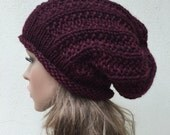 Hand knit hat - Oversized Chunky  Hat, slouchy hat in Burgundy