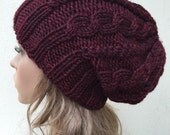 Hand knit hat - Oversized Chunky Wool Hat, slouchy hat in Burgundy