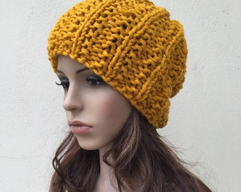 Hand Knit woman berets Chunky hat woman hat Mustard yellow