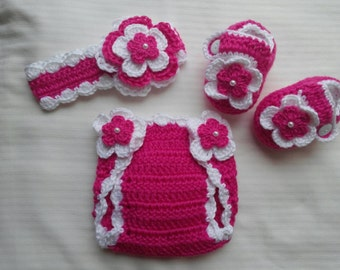 Baby Girl Infant Girl Crochet Headband Hairbow Booties Diaper Cover Baby Shower Gift Photo Prop 10019 MADE TO ORDER