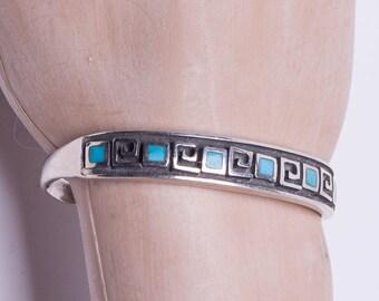 40s Hopi Overlay Bracelet - Turquoise & Sterling - Maze