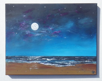 Night sky painting, full moon ocean seascape with stars, glow in the dark paint 11x14 inches