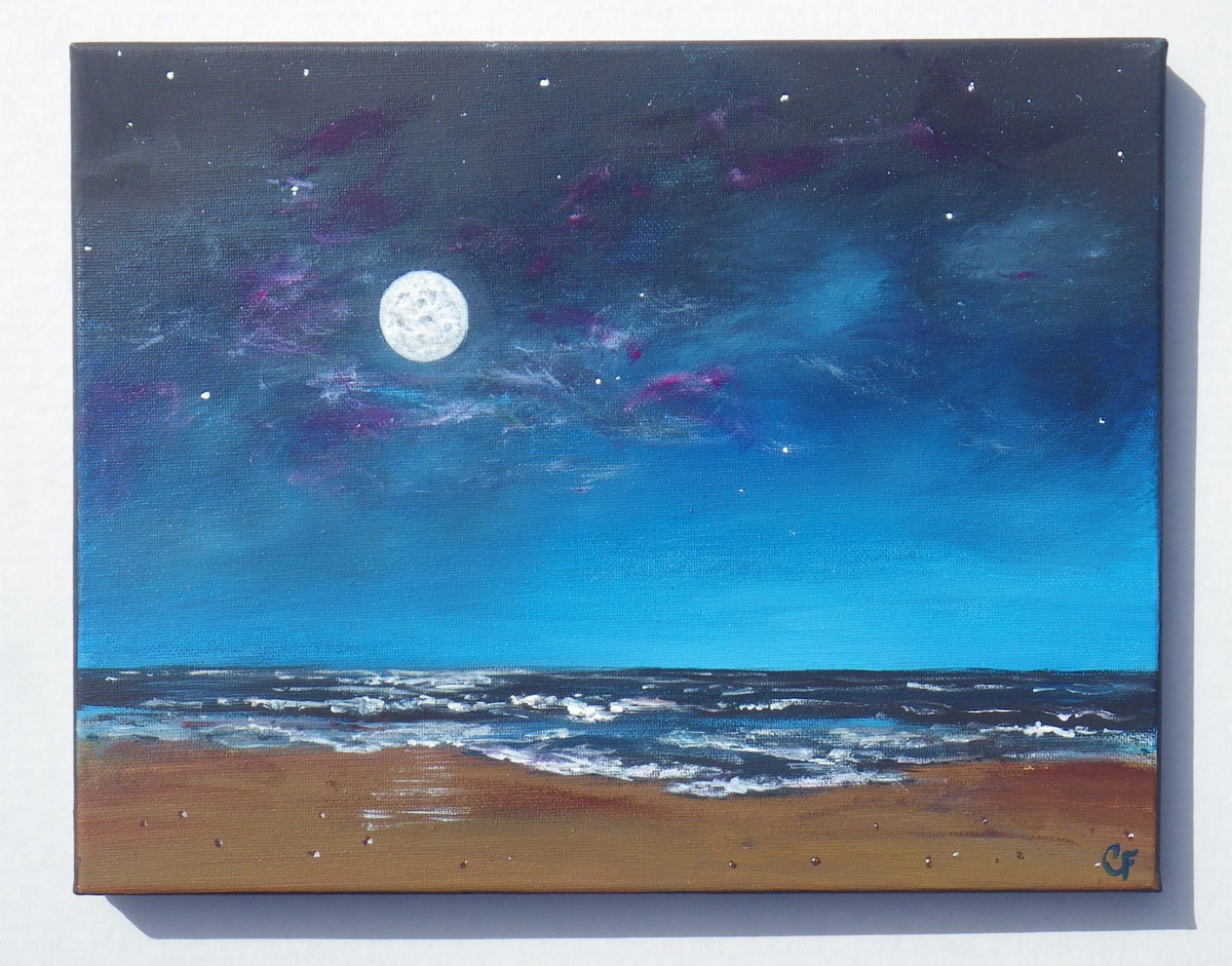 Night sky painting full moon ocean seascape with stars glow
