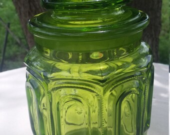 L. E. Smith green moon and stars sugar canister