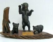 Vintage Yukon Mackintosh Lodge Bear Souvenir Diorama Sculpture Statue Canada Folk Art