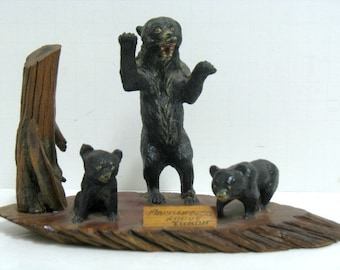 Vintage Yukon Mackintosh Lodge Bear Souvenir Diorama Sculpture Statue Canada Folk Art