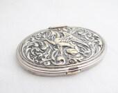 Antique Silver Griffin Locket Compact Brooch