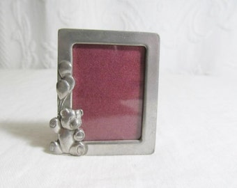 Pewter Picture Frame Small Seagull Canada Teddy Bear Balloons Baby School Photo