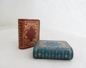Pair Leather Book Match Box Holders