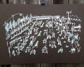 THE FREEWAY | California road trip | dark metallics | limited edition screenprint poster | by Kathryn DiLego