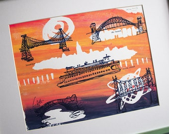 THE FIVE BOROUGHS #57   New York City travel sketches over bright sunset colors, a handmade original silkscreen print by Kathryn DiLego