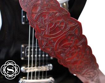 Leather guitar strap, personalized, viking, viking animal, viking guitar strap, guitar strap leather, banjo strap, acoustic strap, Celtic