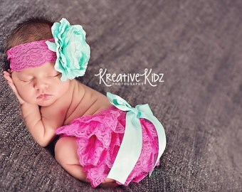 Newborn Lace bloomer set { Tickle me Pink } Hot pink, aqua lace Diaper Cover Bloomer Set, flower Headband baby girl photography prop shower