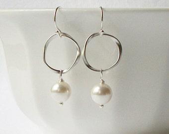 Pearl Eternity Dangle Earrings Wedding Jewelry