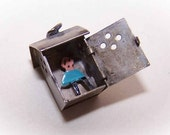 Vintage STERLING SILVER & Enamel Charm - Man in an Outhouse