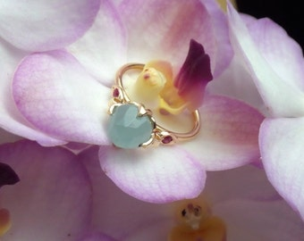 Rose Cut Milky Aquamarine and Natural Ruby Lotus Ring in 18k Yellow Gold, Right Hand or Alternative Engagement Ring, Made to Order