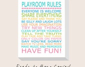 Playroom Rules Nursery Decor CANVAS ART Print - Nursery Canvas Gallery Wrap - Ready to Hang Canvas - Choose Your Size and Colors