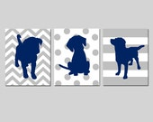 Navy Grey Nursery Decor Puppy Dog Nursery Art Set of 3 Prints Baby Boy Nursery Decor Wall Art Navy Blue Grey Puppies - CHOOSE YOUR COLORS