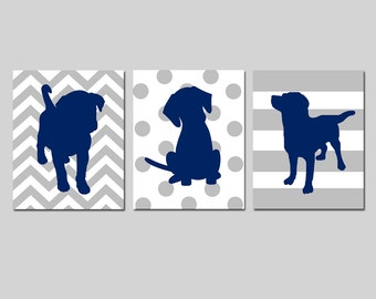 Navy Grey Nursery Decor Puppy Dog Nursery Art Set of 3 Prints Baby Boy Nursery Decor Wall Art Navy Blue Grey Puppies - CHOOSE YOUR COLORS