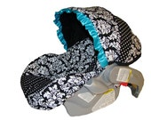 Baby Car Seat Cover - Infant Car Seat Cover - Carrier Slip Cover with Canopy - Girl Carseat Cover  - Black Damask with Turquoise Ruffle