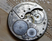 Elgin WATCH MOVEMENT- Pocket Watch Parts- Steampunk Altered Art Supply