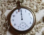 Vintage POCKET WATCH- Crown Steampunk Style- Pocketwatch- Porcelain Face- Engraved Back