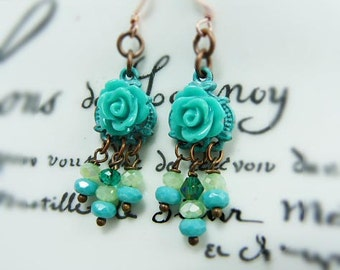 French Provincial petite turquoise rose chandelier earrings