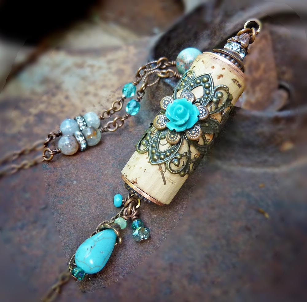 Turquoise Vineyard Estate Wine Cork Necklace Assemblage