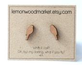 Bird Earrings - alder laser cut wood earrings
