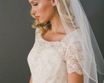Pencil Edge Veil, Short Veil Corded Wedding Veil, Simple Veil, Tulle Veil Traditional Veil, Ivory Bridal Veil, Bridal Accessories  #1565