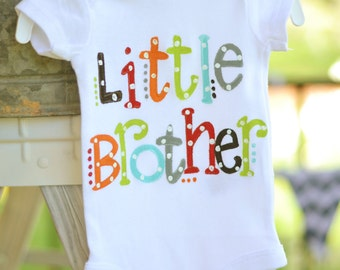 big brother or little brother tees, bright colors with polka dots for little brother or little sister, sibling shirts, big sis big bro