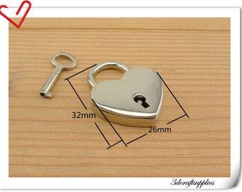 Small Heart Padlock Heart lock Purse lock box lock 1.25 inch (32mm)  N47