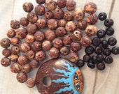 Organic Fair Trade 71 Pieces Of Brazil Acai Seed Beads handpainted coconut bead
