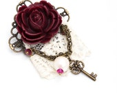 Burgundy Resin Rose, Lace, and Filigree Brooch With Vintage Pearls and Swarovski Crystals