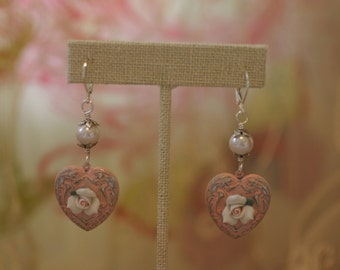 Shabby Chic Pink and White Heart Earrings