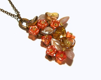 Rose Flower Pendant , Orange Floral Pendant, Wire Wrapped Pendant, Gift Ideas, Top Selling Jewelry, Popular Jewelry, Gifts, Whimsy Pendant