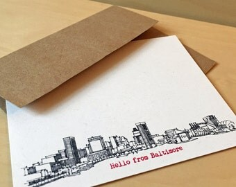 Baltimore Skyline - personalized noteflat cards