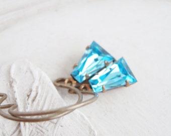 Vintage Jewel Earrings - Aquamarine