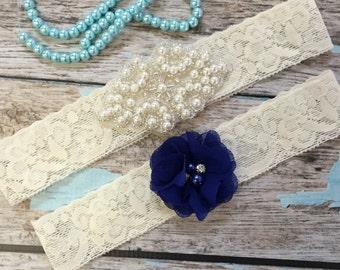 Wedding garter / Lace garter SET / bridal  garter / vintage lace garter / toss garter / wedding garter / pearl garter / royal blue
