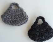Handmade Barbie Clothes Purse Handbag Crochet Black Gray Hobo