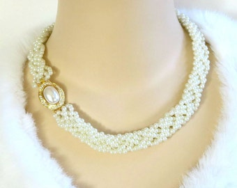 Vintage Braided Faux White Pearls with Rhinestone Clasp Choker Necklace