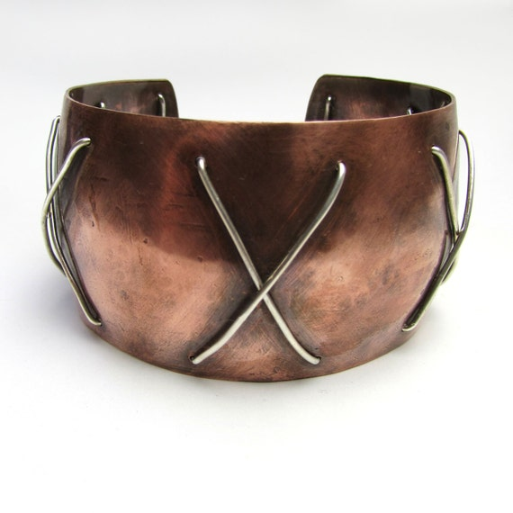 Anticlastic Warrior Antiqued Sterling Silver and Copper Wide Unisex Cuff One of a Kind