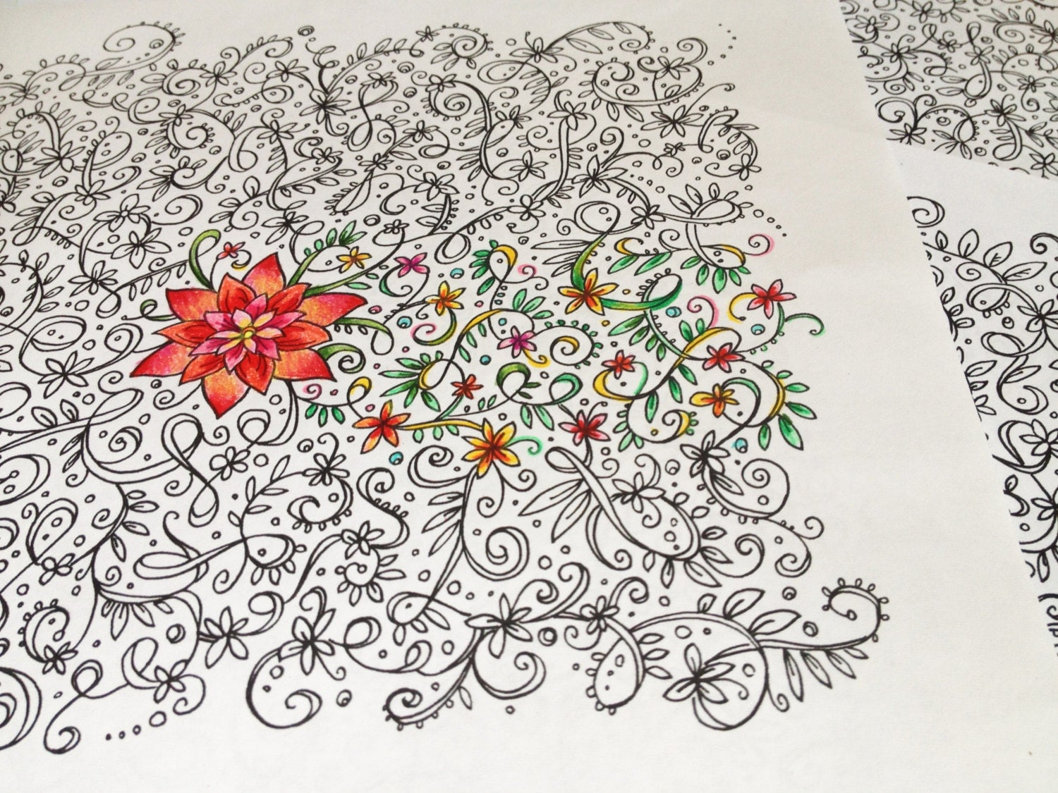 Flower vines coloring pages - Flowers On The Vine Adult Coloring Book Single Page Instant Download Printable Floral