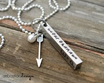 Solid Rectangular Bar Handstamped Arrow Necklace
