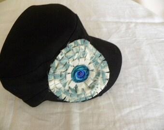 Black Military Cadet Cap  Hand Made Embellishment