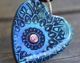 Heart Pendant with Crystal, Blue Mandala Healing Heart  Pendant on  Leather Cord, Boho Chic Heart Necklace, Iridescent Blue Resin Heart