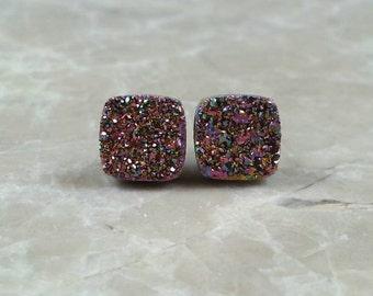"Rainbow Iridescent 8mm 1/3"" Square Druzy Drusy Stud Earrings with Nickel Free Titanium Posts"