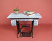 Collector Miniature 1:12 Shabby Chic Converted Sewing Machine TABLE OOAK, IGMA Aged, Rusted