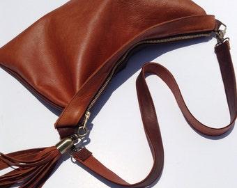 Leather Colorblock Clutch Purse Shoulder Bag